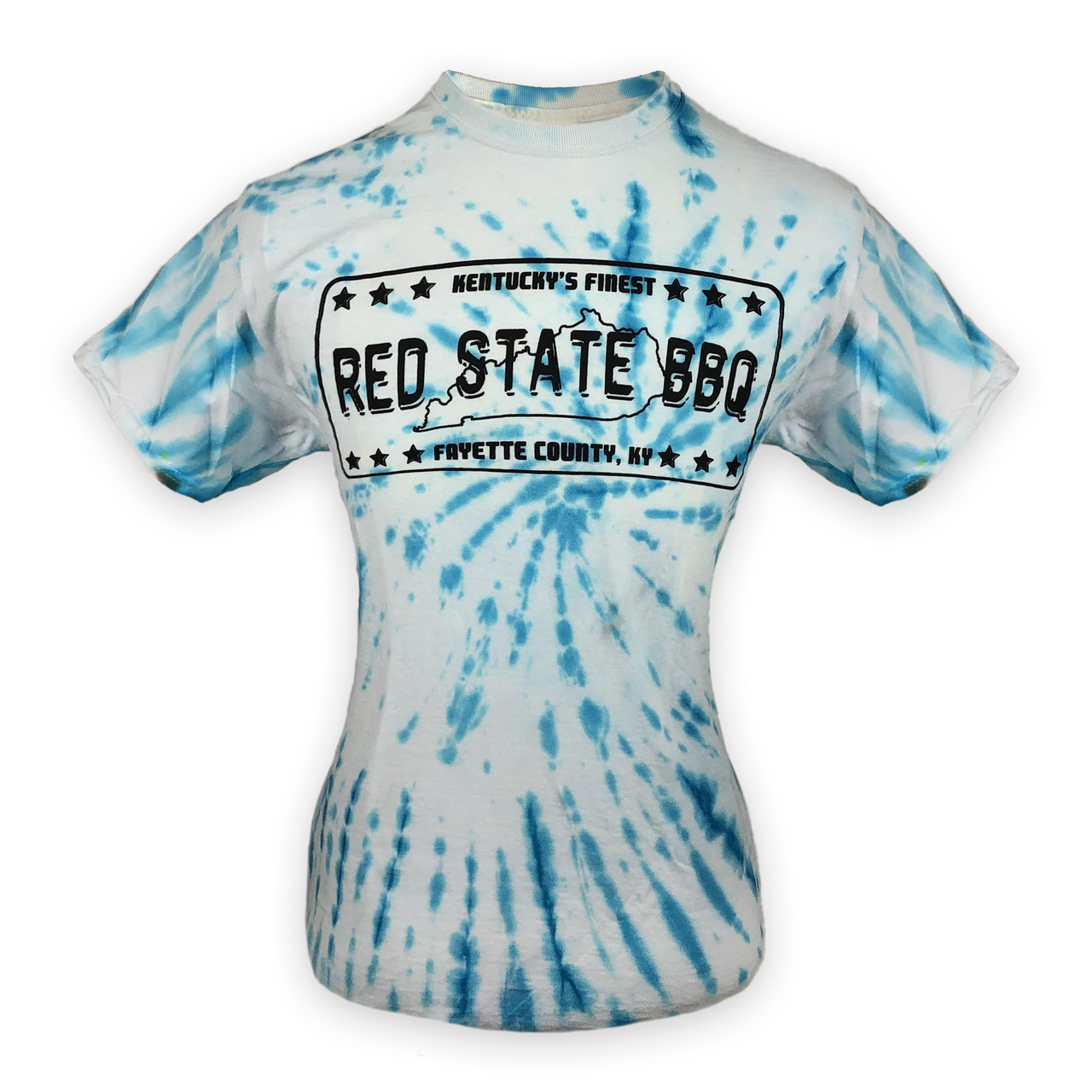 Tye Dye  T-shirt with  our vintage Red State BBQ logo.  Colors will vary!