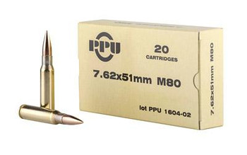 Ppu 7.62x51 145 Grain Weight M80 Fmjbt 20/Box