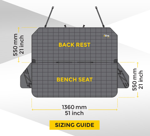 drive dog seat cover dimensions