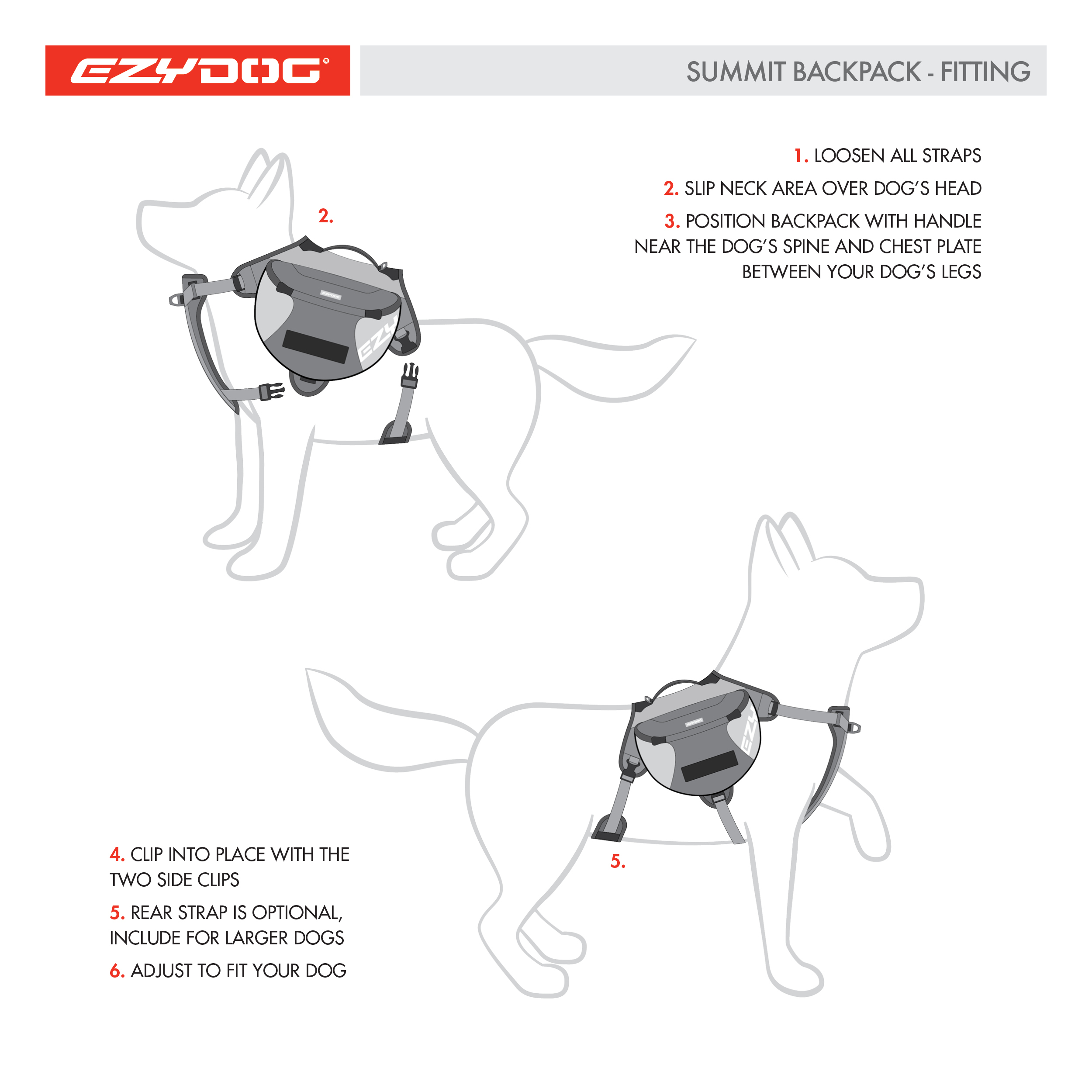 EzyDog Summit Backpack Features