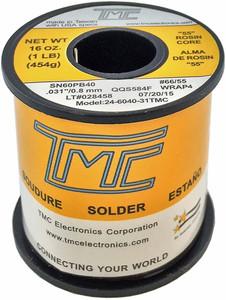 """1 lb. Solder Wire, 60/40, 1mm/0.039""""  24-6040-40TMC"""