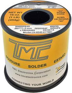 """1 lb. Solder Wire, 60/40, 2.5mm/0.098""""  24-6040-98TMC"""
