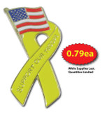 Support Our Troops Ribbon Flag Pin