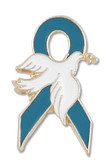 Teal Ribbon Dove Pin