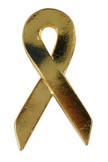 Gold Ribbon Lapel Pin