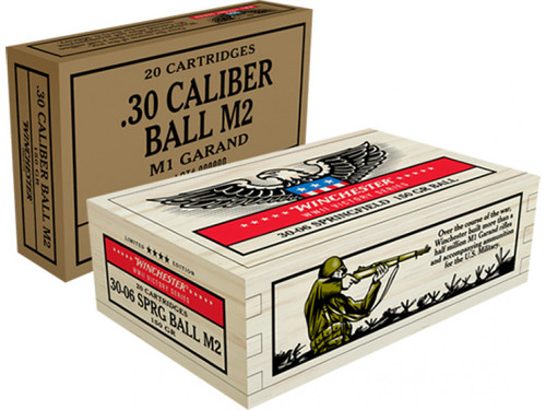 Winchester 30-06 Springfield Ammunition WWII Victory Series X3006WW2 150 Grain Full Metal Jacket Collector's Wooden Box of 20 Rounds