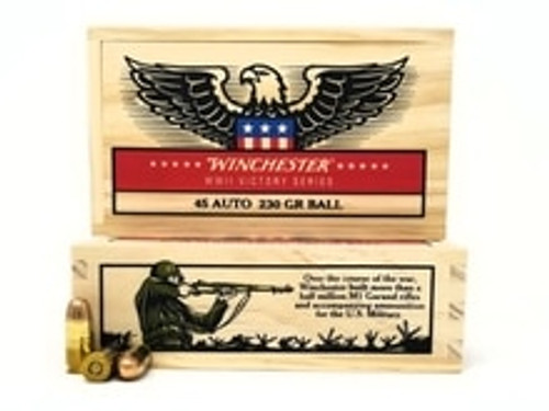 Winchester 45 ACP Ammunition WWII Victory Series X45WW2 230 Grain Full Metal Jacket Collector's Wooden Box of 20 Rounds