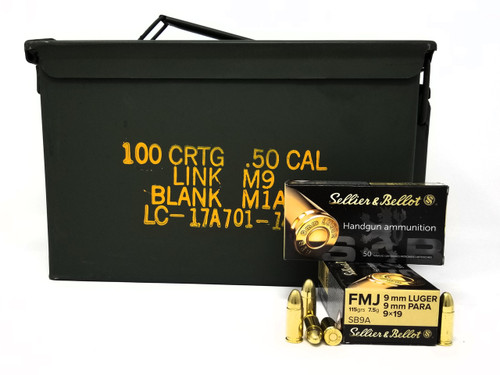Bundle of Sellier & Bellot 9mm Ammunition SB9A 115 Grain Full Metal Jacket Inside US Surplus Ammo Can 1000 Rounds