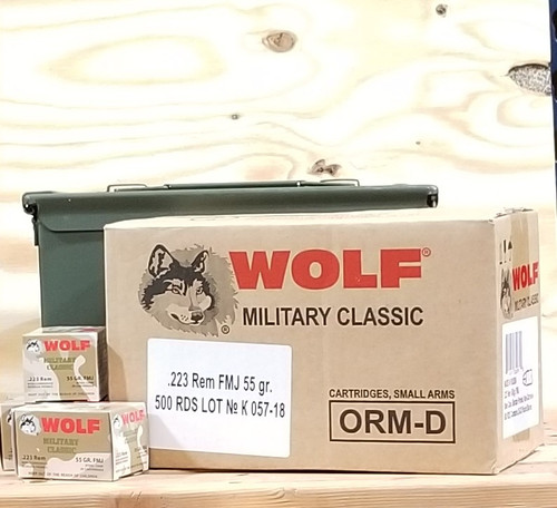 Bundle Wolf 223 Rem Ammunition WMC223FMJ55CAN 55 Grain Full Metal Jacket Inside US Surplus Ammo Can 500 Rounds