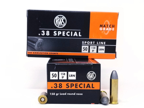 RWS 38 Special Ammunition Sports Line 158 Grain Lead Round Nose 50 Rounds