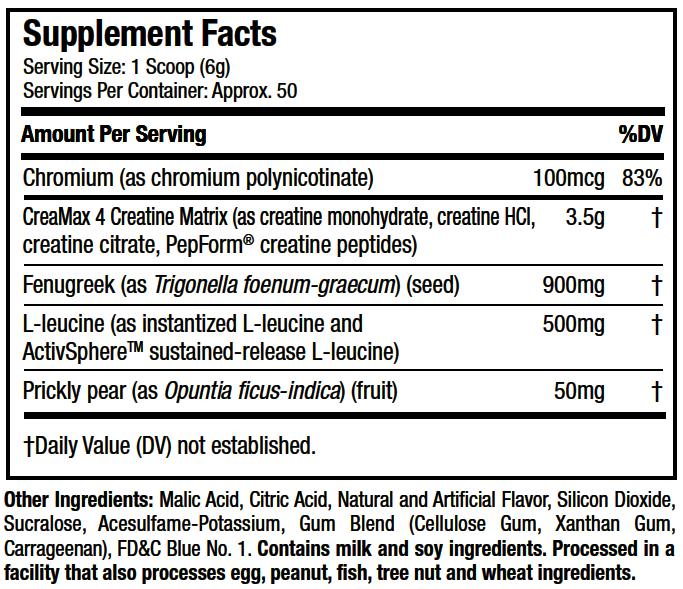 Cell-Tech SX-7 Revolution Supplement Facts