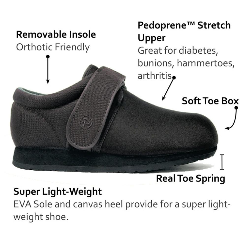 Pedors Clásico Negro Features Zapatos Diabética Y Ortopédicos