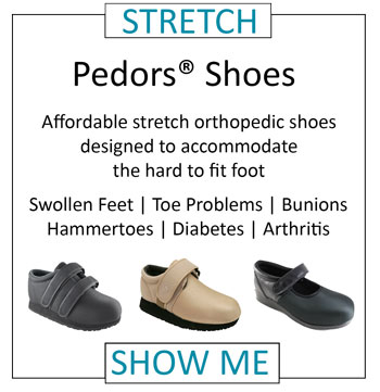 Pedors stretch orthopedic shoes for swollen feet edema lymphedema corns bunions hammertoes diabetes arthritis