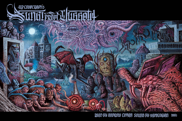 """H. P. Lovecraft's, Fungi From Yuggoth LP - Read by Andrew Leman, sound by Theologian - """"Night-Gaunt"""" variant - metallic silver"""