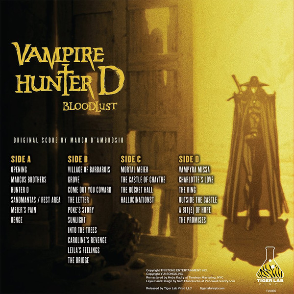 MARCO D'AMBROSIO: Vampire Hunter D: Bloodlust (Original Soundtrack) 2LP