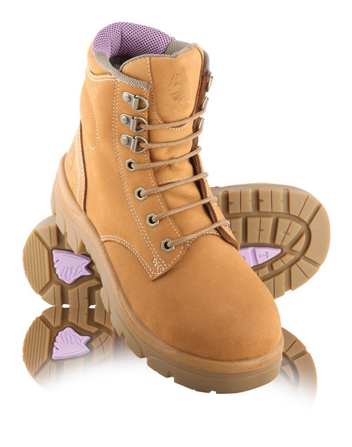 Steel Blue ARGYLE Ladies Lace Up Steel Cap Boots Wheat