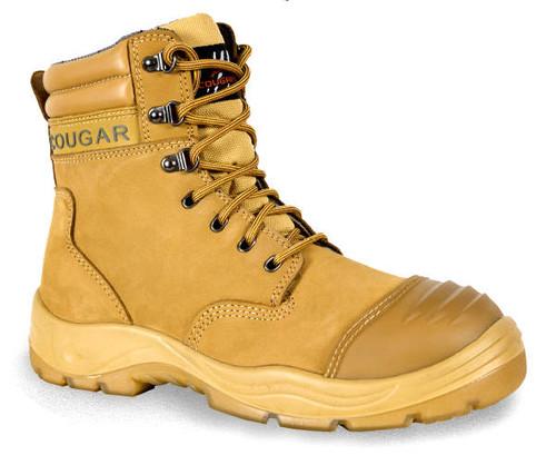 Cougar B215 8 Inch Side Zipper Work Boots, Steel Cap, Wheat