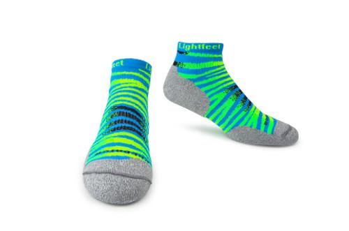 Lightfeet Predator Hi Tech Premium Sports Socks in Aqua and Fluoro Green
