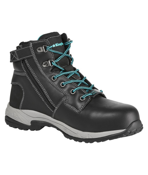 KingGee Women's Tradie Zip Safety Work Boots in Black Full Grain Leather (K27360)