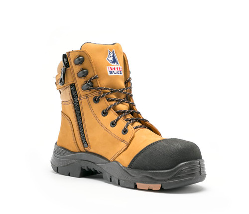 Steel Blue Torquay Lace-Up Boot with Airport Friendly Toe Cap in Wheat ( 617539 Wheat)