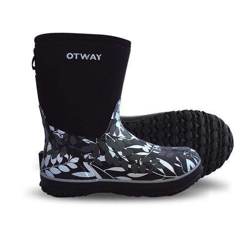 Otway Stroller Mid Insulated Ladies Waterproof Gumboots in Leaves Black (OW0044)
