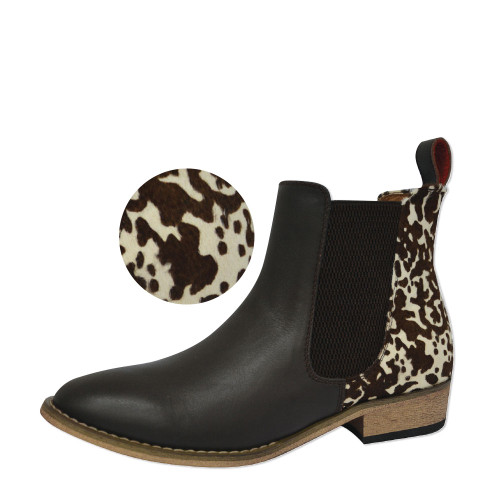 Thomas Cook Women's Chelsea Two Tone Leather Boots in Dark Brown and Cow Print (T8W28333 Cow)