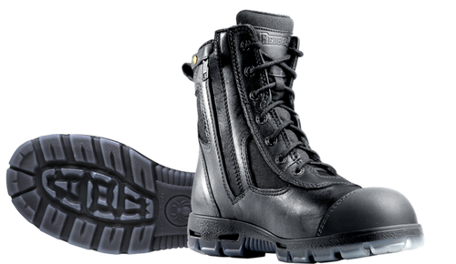 Redback Kingaroy Zip Sided Steel Toe Work Boots with Scuff Cap in Black (USKBZS)