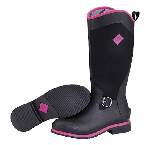 Muck Boots Reign Tall Women's Equestrian Style Insulated Gumboots in Black and Pink (SRGNT-404)