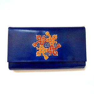 Leather wallet in deep Blue