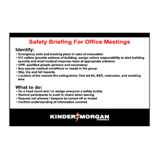Safety Briefing for Office Meetings Signs