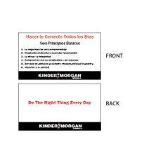 """Core Principles Wallet Card in Spanish - 2"""" x 3.5"""""""