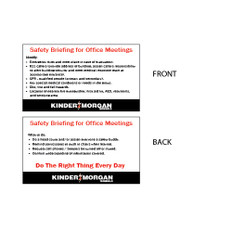 """Safety Briefing Wallet Card - 2"""" x 3.5"""""""