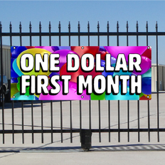 One Dollar First Month Banner - Balloons