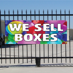 We Sell Boxes Banner - Balloons