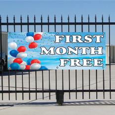 Free First Month Banner - Balloons Sky