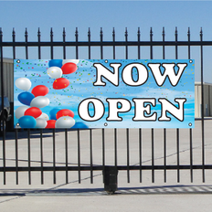 Now Open Banner - Balloon Sky