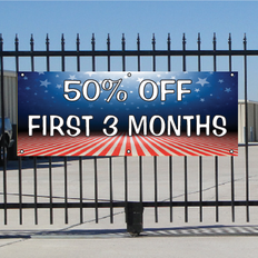 50 Percent Off First Three Months Banner - Patriotic