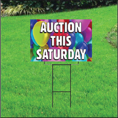 Auction This Saturday Self Storage Sign - Balloons