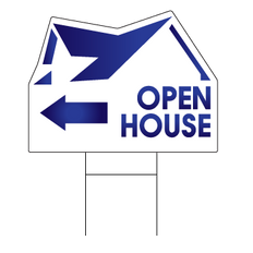 Stock Blue Arrow Open House Realtor Sign