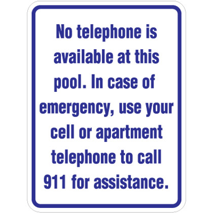 """No Telephone Available Sign - 18"""" x 24"""""""