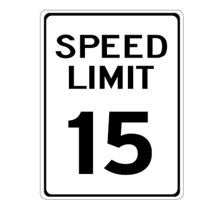 "15 MPH Speed Limit Sign - 12"" x 18"""