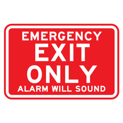 "Emergency Exit Only Sign - 9"" x 12"""