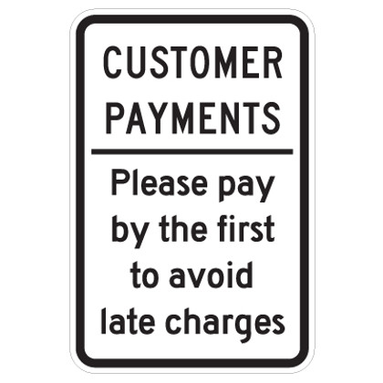 "Customer Payments Sign - 12"" x 18"""