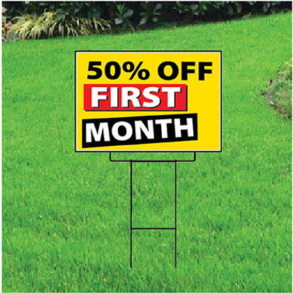 50 Percent Off First Month Sign - Festive