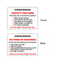 """Safety Factors Card - 2.5"""" x 3.5"""""""