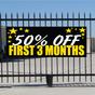 50 Percent Off First Three Months Banner - Celebration