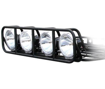 "Black powder coat  • Fits any 4' wide roof rack • Made from 16-gauge fully welded 1"" round steel tubing to match the roof racks • Provides protection for four 9"" diameter lights • Light cage bolts directly to your Defender Roof Rack  Made from 16-guage, fully welded , 1"" round steel tubing to match the Defender roof rack. Provides protection for four 9"" diameter lights. The light cage bolts directly to your Defender Roof Rack. (lights and wiring not included)"