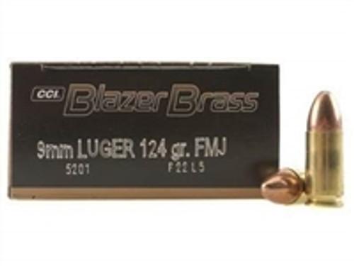 CCI 9mm Ammuntion Blazer Brass 5201 124 Grain Full Metal Jacket Case of 1000 Rounds