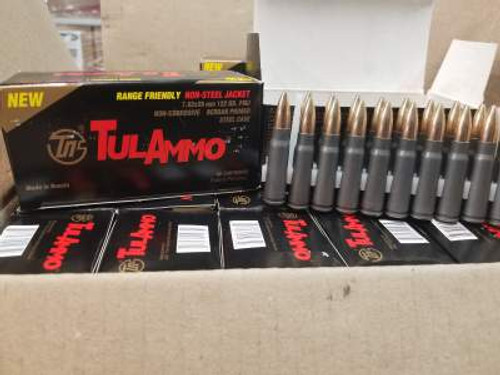 Tula 7.62x39mm Ammunition Range-Friendly Non-Magnetic Projectile UL076215 122 Grain Full Metal Jacke Case of 1000 rounds