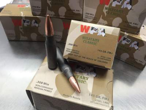 Wolf 308 Win Ammunition Military Classic WMC308FMJ145 145 Grain Bi-Metal Full Metal Jacket Case of 500 rounds